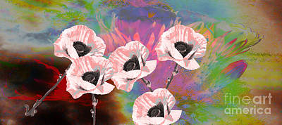 Shirley Digital Art - Garden Of Pink Poppies by Beverly Guilliams