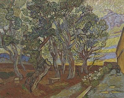 Painting - Garden Of The Asylum Saint Remy De Provence December 1889 Vincent Van Gogh 1853  1890 by Artistic Panda