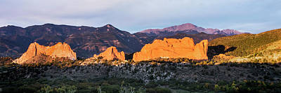 Photograph - Garden Of The Gods And Pikes Peak At Sunrise - Colorado Springs by Brian Harig