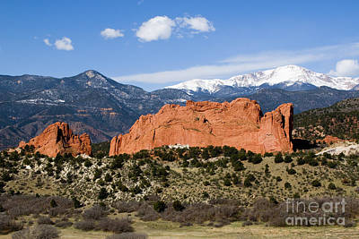 Steven Krull Royalty-Free and Rights-Managed Images - Garden of the Gods and Pikes Peak in the Morning by Steven Krull