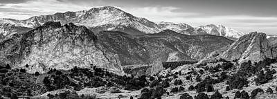 Photograph - Garden Of The Gods And Pikes Peak Panorama - Monochrome by Gregory Ballos