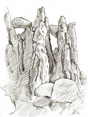 Red Rock Drawing - Garden Of The Gods Pulpit Rock by Adam Long