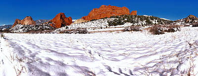 Art Print featuring the photograph Garden Of The Gods Snowy Morning Panorama Crop by Adam Jewell