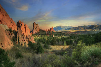 Digital Art - Garden Of The Gods Sunset by Lori Deiter