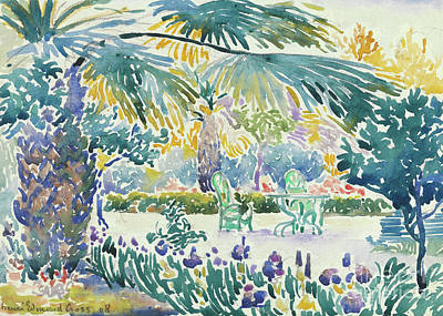 Overhang Painting - Garden Of The Painter At Saint Clair, 1908  by Henri Edmond Cross