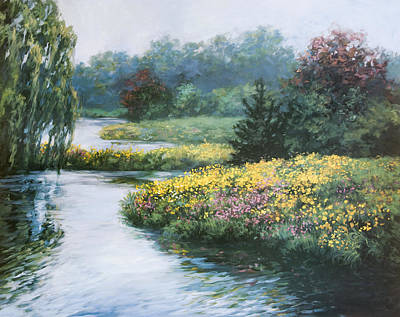 Reflections In Water Painting - Garden On Water by Laurie Hein