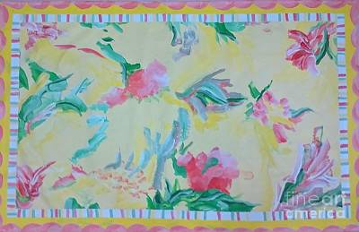 Painting - Garden Party Floorcloth by Judith Espinoza