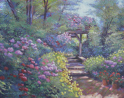 Painting - Garden Path In Soft Light by David Lloyd Glover