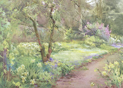 Daffodils Painting - Garden Path by Mildred Anne Butler