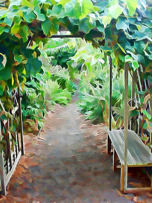Mixed Media - Garden Path by Pamela Walton