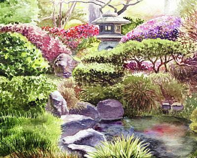 Japanese Tea Garden Painting - Garden Path To Pagoda by Irina Sztukowski