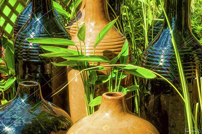 Photograph - Garden Pottery Jugs by Dee Browning