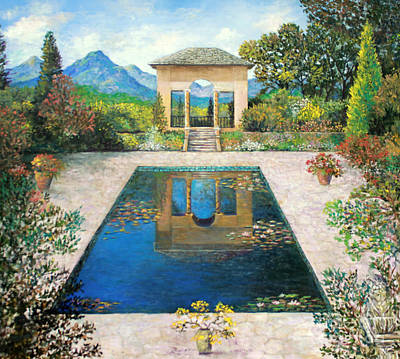 Painting - Garden Reflection Pool by Lou Ann Bagnall