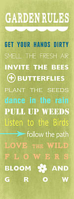 Bee Wall Art - Mixed Media - Garden Rules by Linda Woods