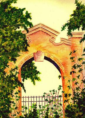 Iron Gate Painting - Garden Scene by Michael Vigliotti