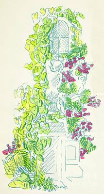 Garden Scene With Statue Art Print
