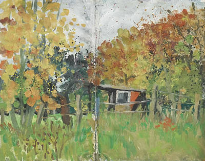 Painting - Garden Shack ,autumn Leaves by Martin Stankewitz