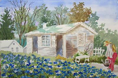 Painting - Garden Shed by Tony Caviston