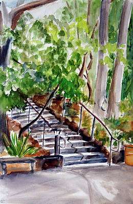 Painting - Garden Stairway At Marin Arts And Garden Center by Tom Simmons