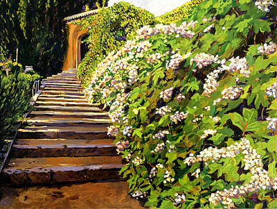 Blooming Painting - Garden Stairway Tuscany by David Lloyd Glover