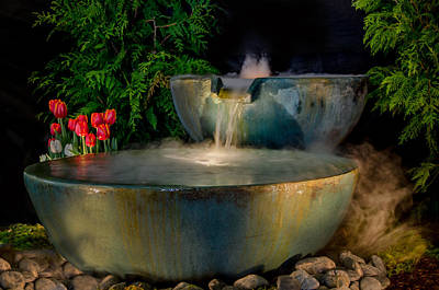 Pottery Water Fountain Photograph - Garden State Koi Display by Eleanor  Bortnick