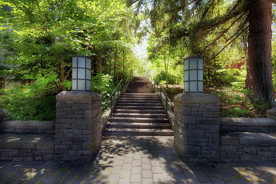 Photograph - Garden Stone Columns Bench Stairs Path Hardscape by David Gn