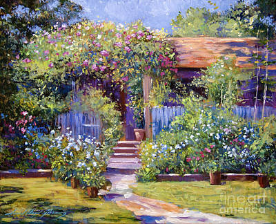Pathway Painting - Garden Summer Cottage by David Lloyd Glover