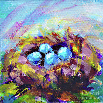 Painting - Bird Nest Garden Surprise By Peggy Johnson by Peggy Johnson