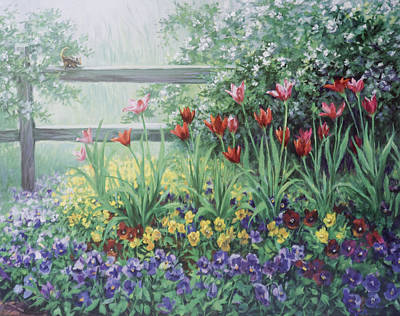 Red Squirrel Wall Art - Painting - Garden Tulips by Laurie Snow Hein