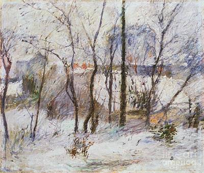 Snowy Trees Painting - Garden Under Snow by Paul Gauguin