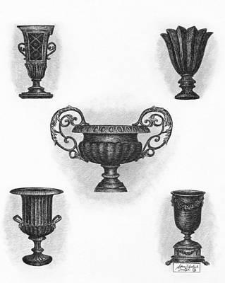 Paper Images Drawing - Garden Urns by Adam Zebediah Joseph