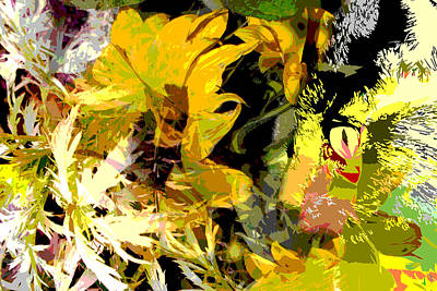 Botanicals Mixed Media - Garden Variety Cat by Ruth Palmer