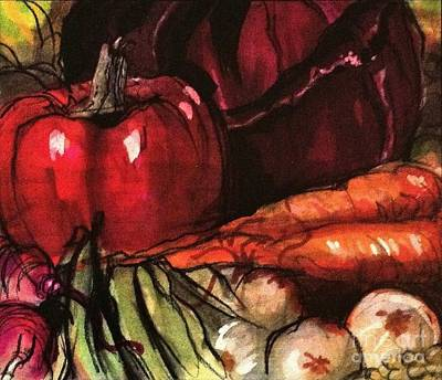 Photograph - Garden Vegetables - Marker Sketch With Paint And Pencils by Miriam Danar