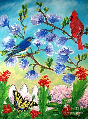 Garden View Birds And Butterfly Art Print by Patricia L Davidson