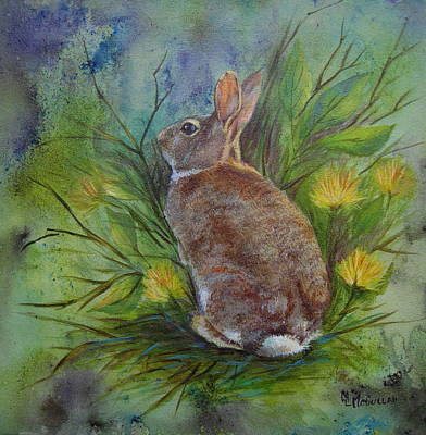Painting - Garden Visitor-bunny by Mary McCullah