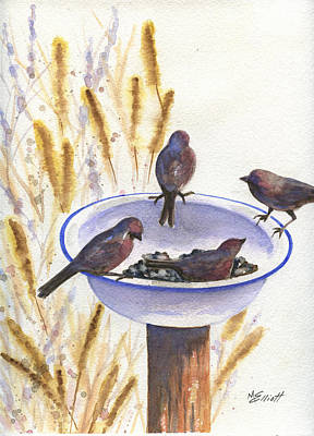 Birdseed Painting - Garden Visitors by Marsha Elliott
