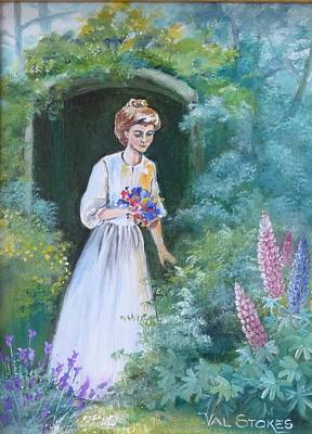 Garden Walk - B Art Print by Val Stokes