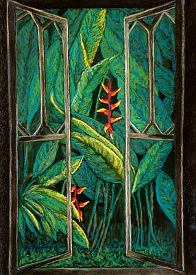 Pastel - Garden Window In The Moonlight by Patricia Beebe