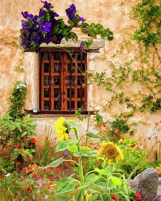Purple Flowers Digital Art - Garden Window by Patricia Stalter