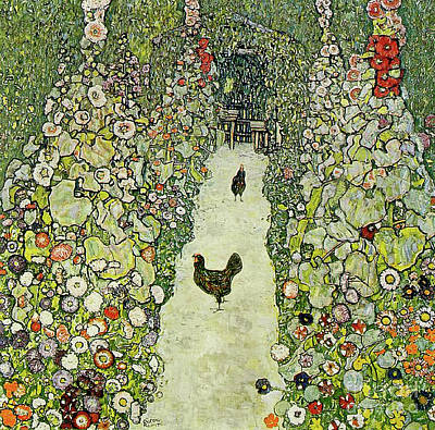 Rooster Painting - Garden With Chickens by Gustav Klimt