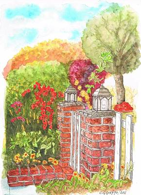 Venice Beach Painting - Garden With Two Pillars In Venice Beach - California by Carlos G Groppa