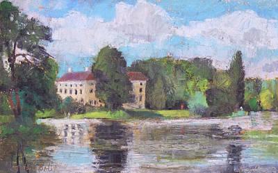 Painting - Garden Woerlitz ,germany, Plein Air Oil Pastel by Martin Stankewitz