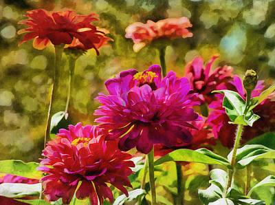 Digital Art - Garden Zinnias by JGracey Stinson