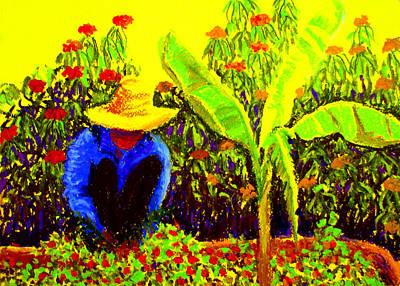 Pastel - Gardener by Art Nomad Sandra  Hansen