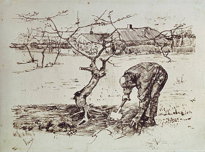 Weeding Painting - Gardener By An Apple Tree, 1883 by Vincent Van Gogh