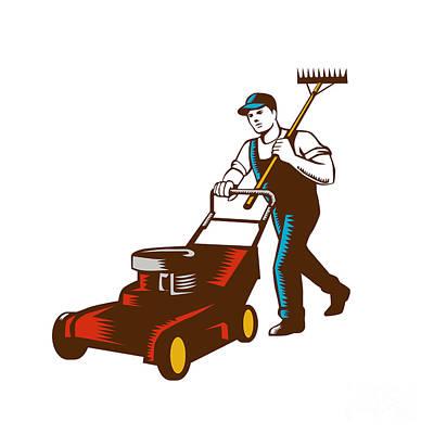 Gardener Lawn Mower Rake Woodcut Art Print