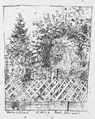 Drawing - Garden,fence And Trees by Martin Stankewitz