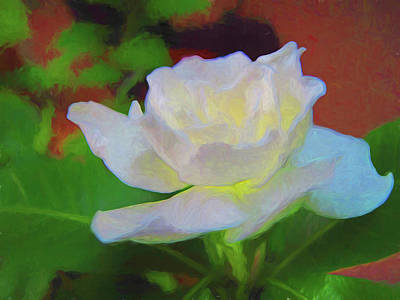 Photograph - Gardenia 3 Painterly by Mary Bedy