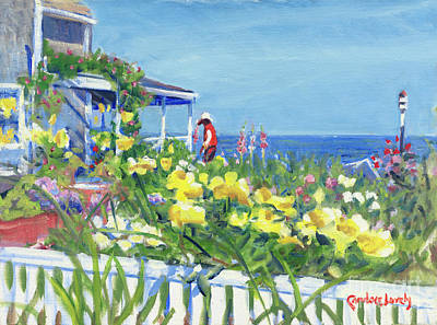Side Porch Painting - Gardening On Front Street by Candace Lovely