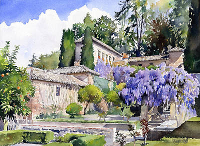 Watercolor Wisteria Painting - Gardens Of The Generalife by Margaret Merry